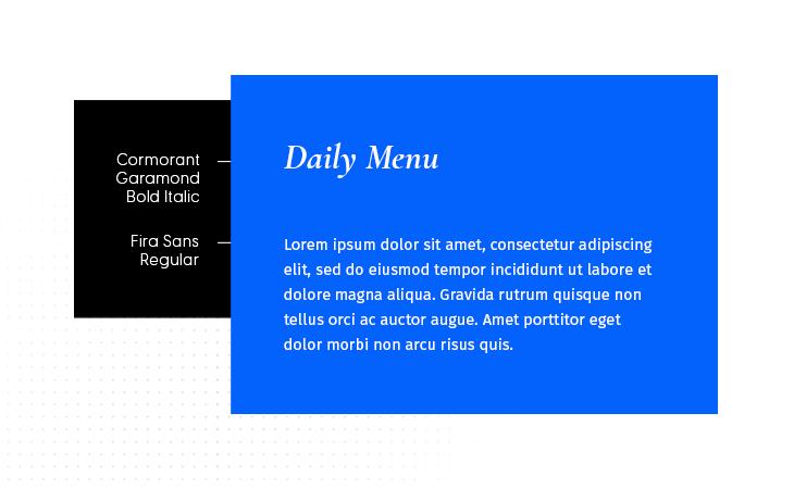 Cormorant Garamond Bold Italic & Fira Sans Regular font combination