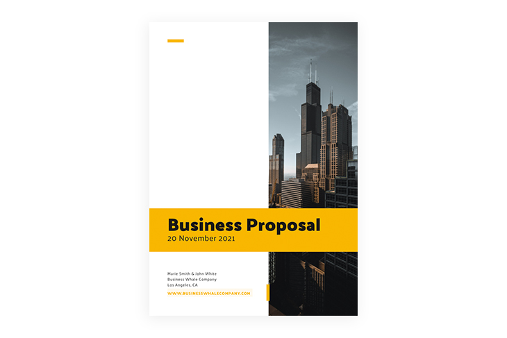 the front page of a business proposal sample
