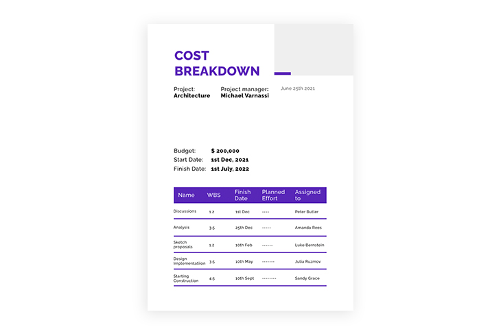 example of a price and billing section of a business proposal