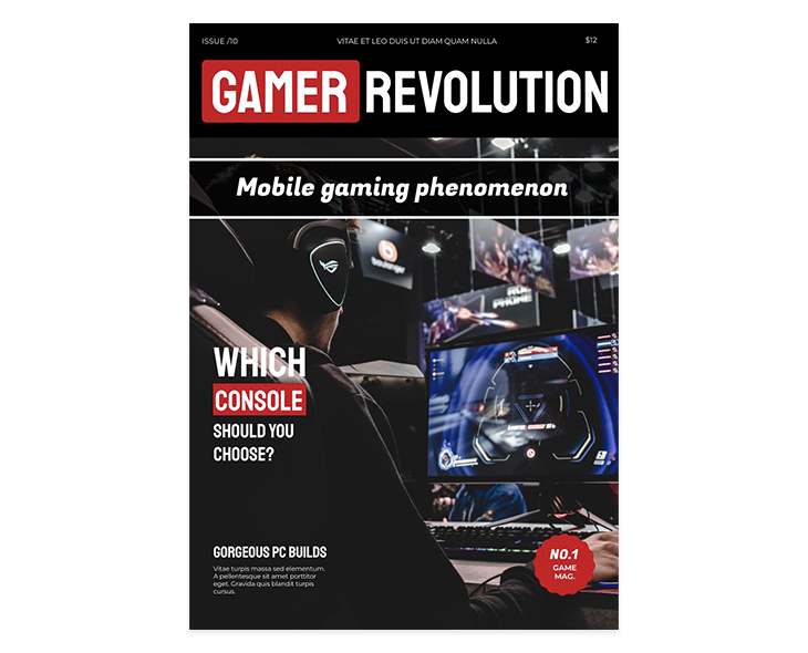 Using Staatliches as a headline font for a gaming magazine