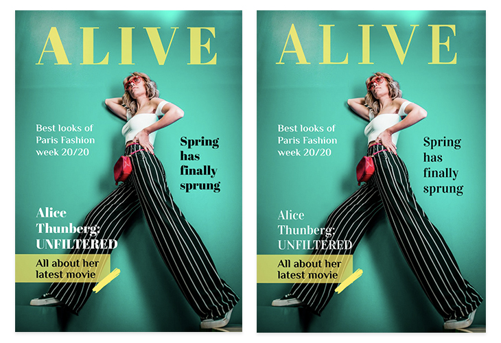 Vidaloka, free headline font used on a fashion magazine layout
