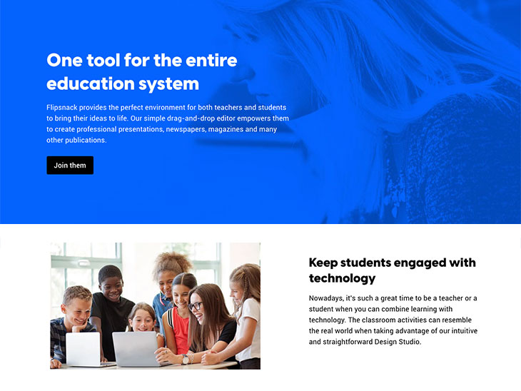 Flipsnack's different user persona reflected on the education landing page