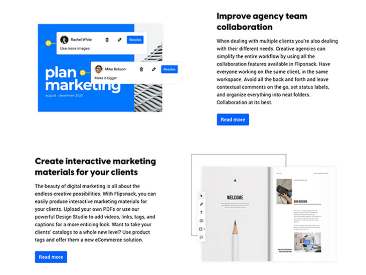 Flipsnack's different user persona reflected on the marketing agencies landing page