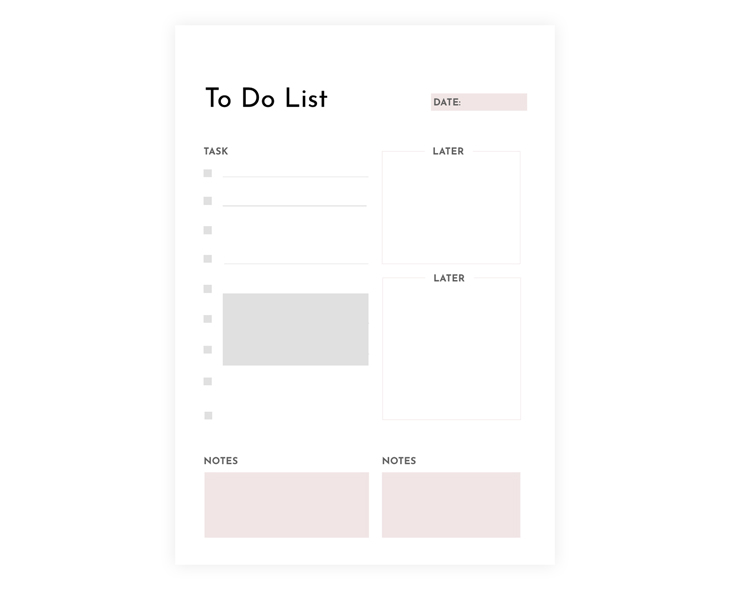 Blank To Do List Template Design