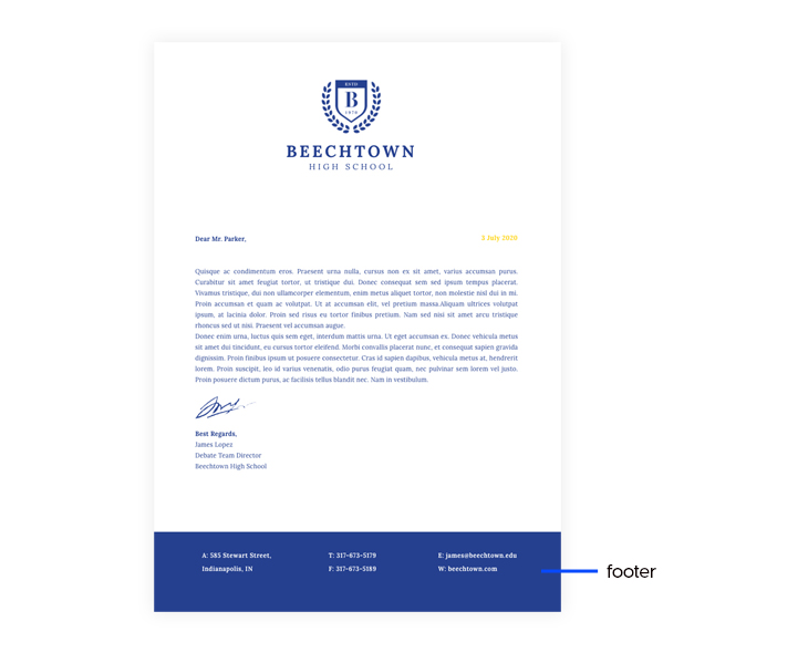 letterhead design tips - the footer has branded colors