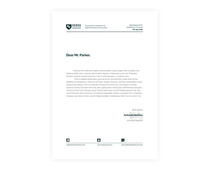 University Letterhead Format Template
