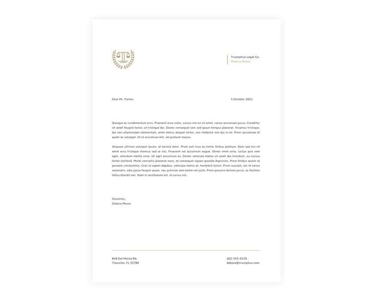 Law Firm Headed Paper Template