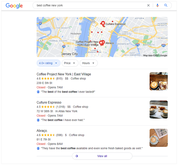 Marketing strategies for small businesses - Local SEO search results