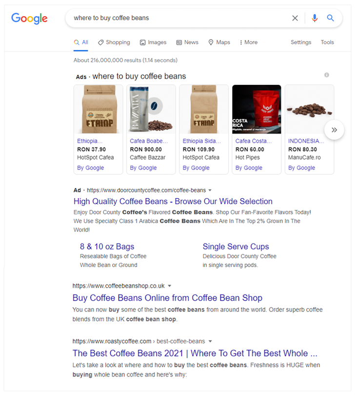 PPC and organic search results