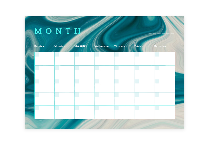 Colorful Monthly Blank Calendar Template