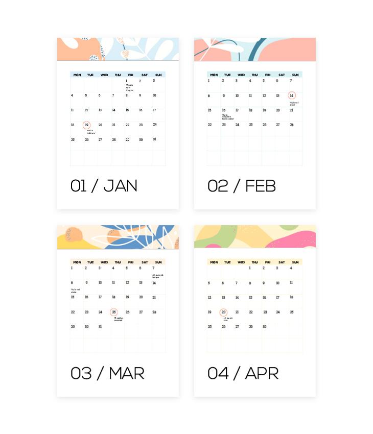 Colorful Fillable Calendar Template