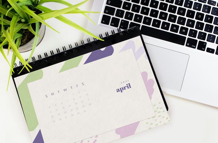 example of a calendar mockup