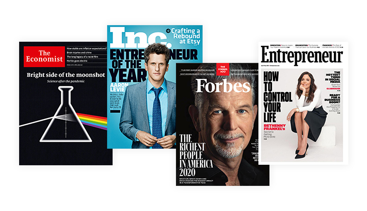Business magazine covers collage