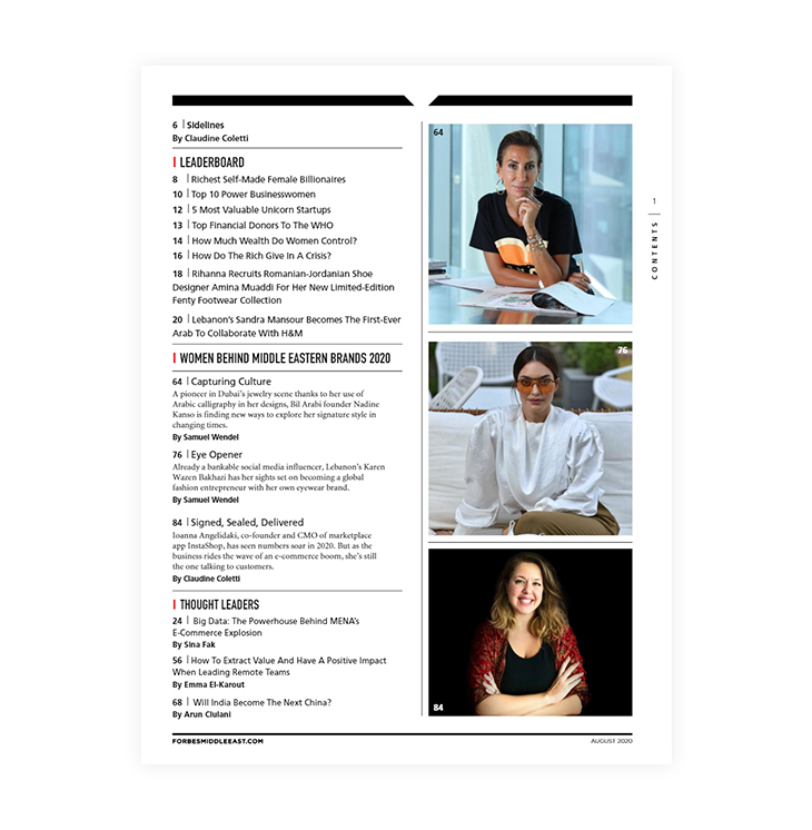 Table of contents - How to make a business magazine like Forbes