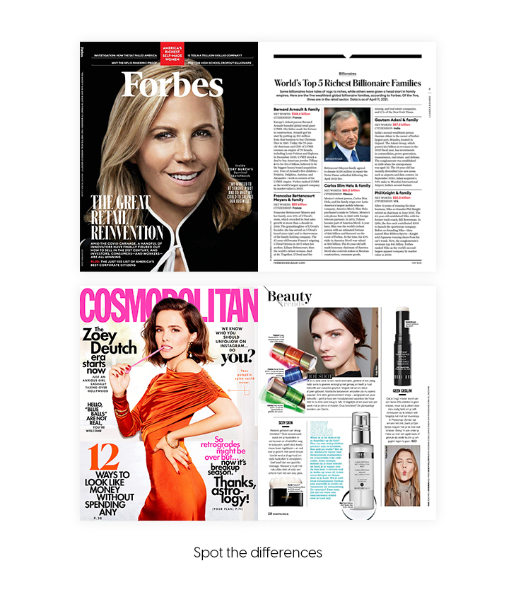 Forbes and Cosmopolitan - spot the differences
