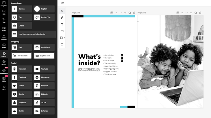 How to make an interactive PDF in Flipsnack by using interact buttons