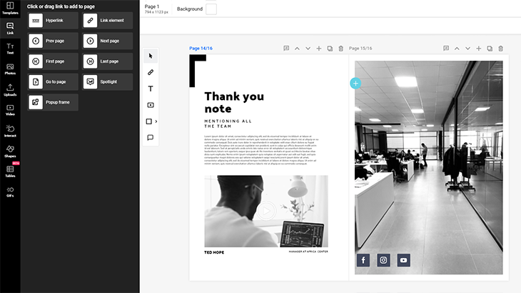 How to make an interactive PDF in Flipsnack by using the link buttons