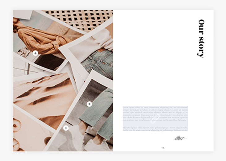 Caption buttons in the Interactive Fashion Catalog Template in Flipsnack