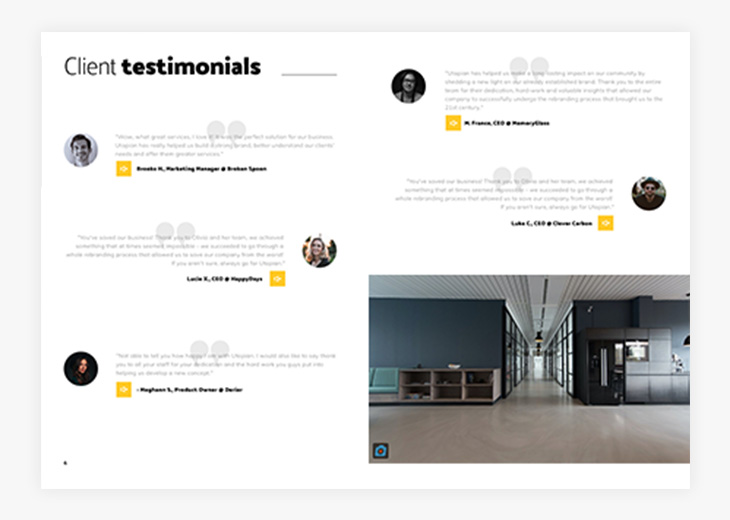 Audio buttons in the Interactive Marketing Agency Brochure Template  in Flipsnack