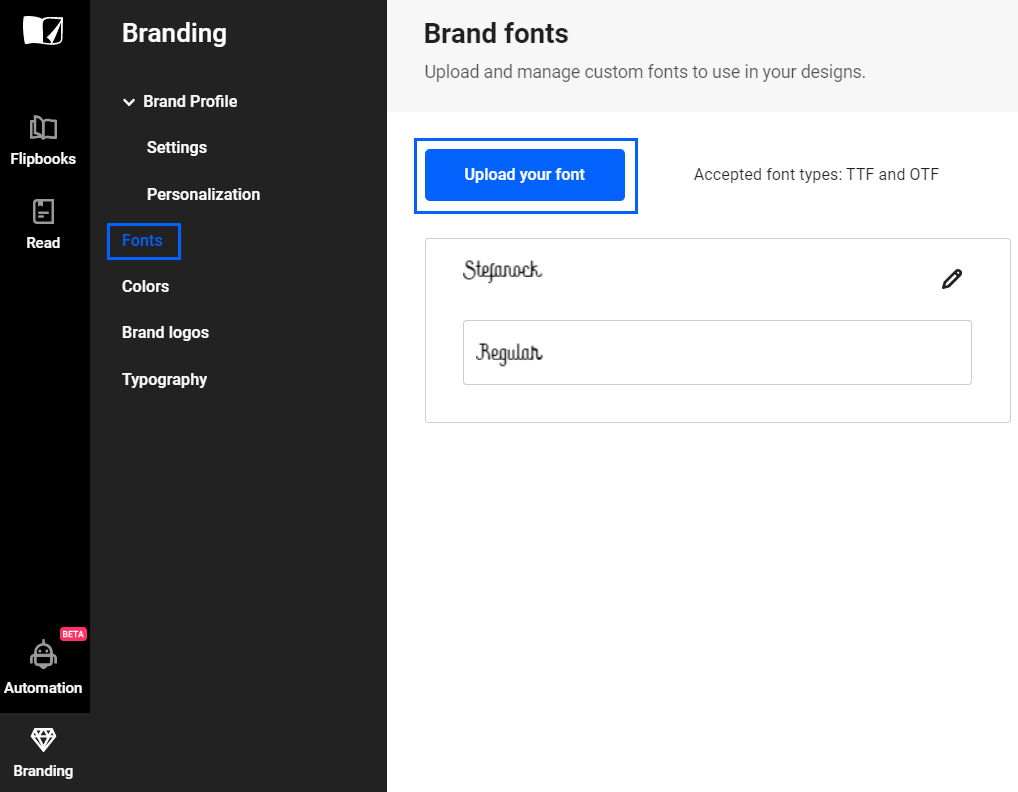 Upload your font in Flipsnack