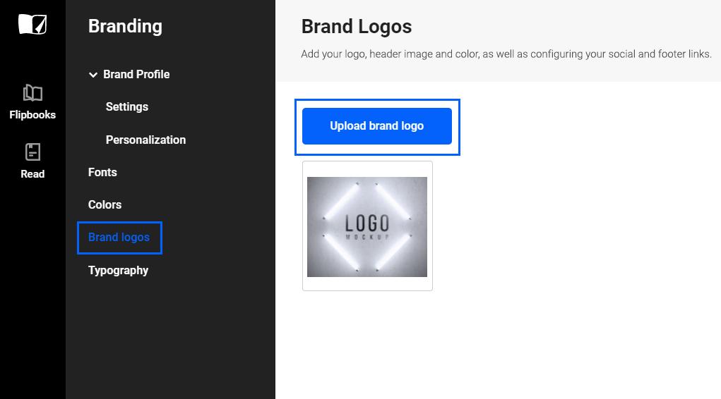 Upload brand logos in Flipsnack