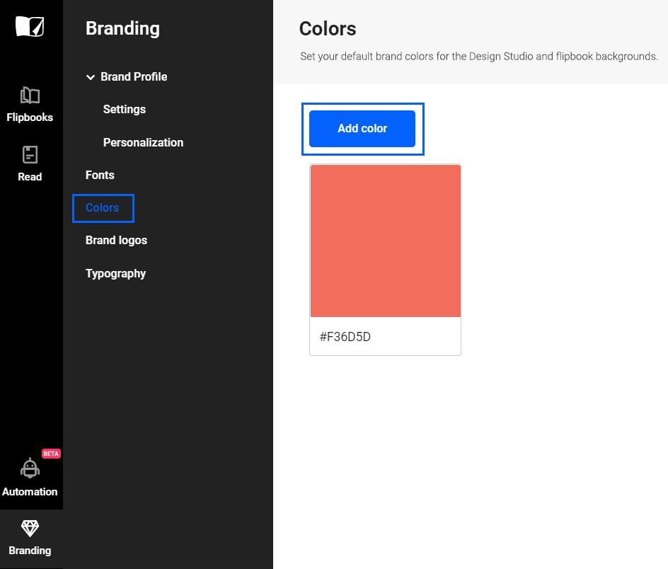 Upload brand color in Flipsnack