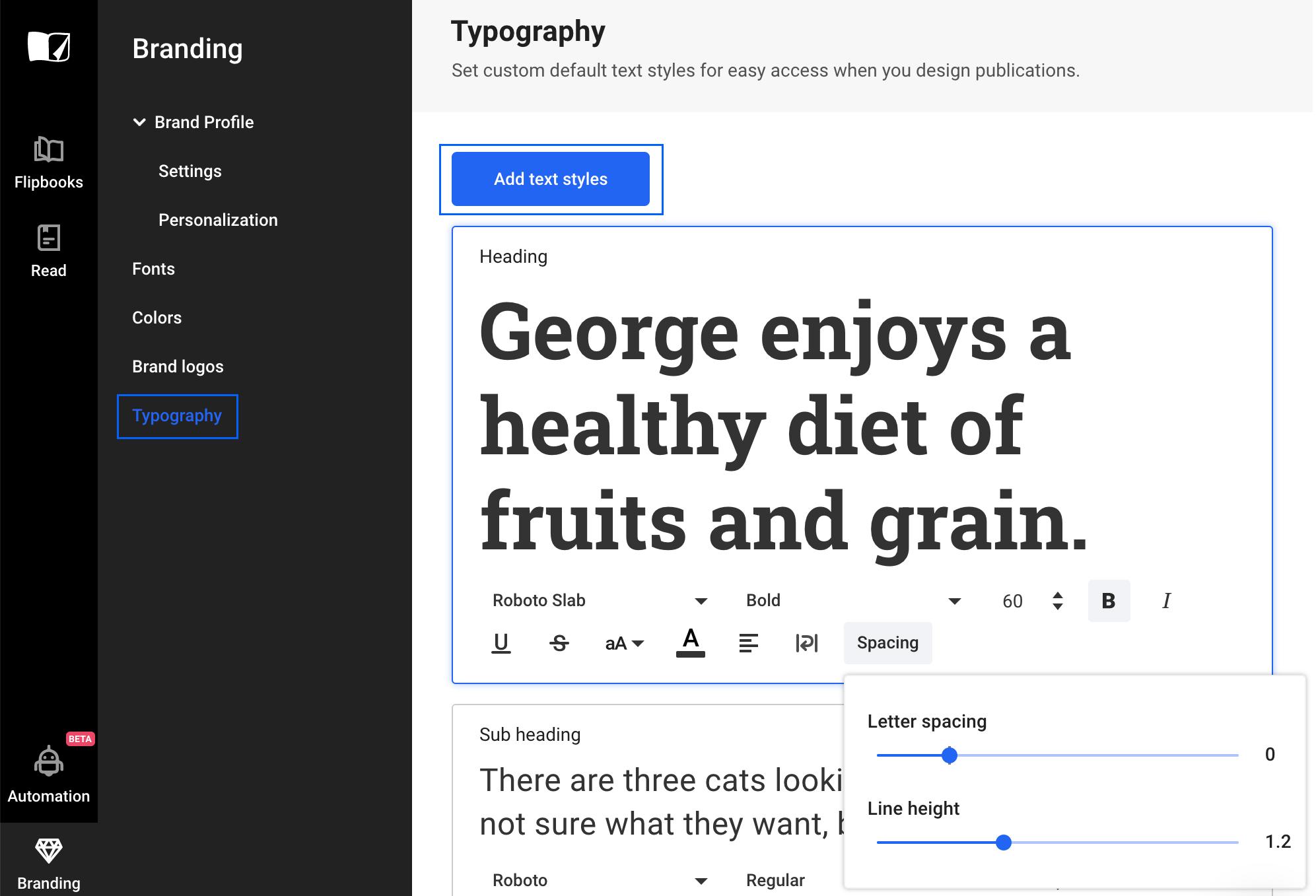 Custom Typography in Flipsnack