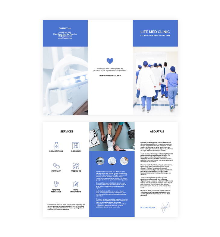 medical and care trifold brochure Flipsnack template