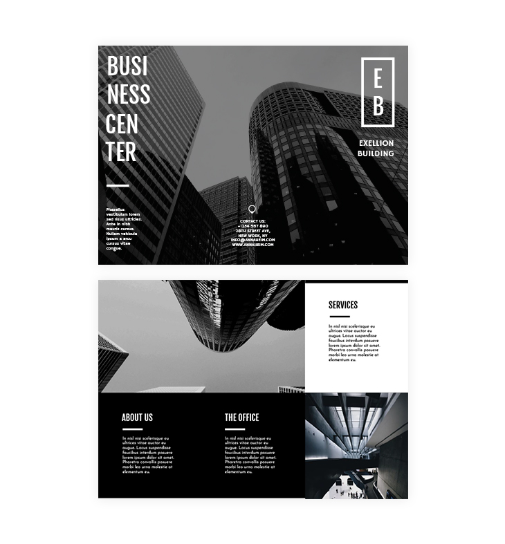 Black and white trifold brochure template