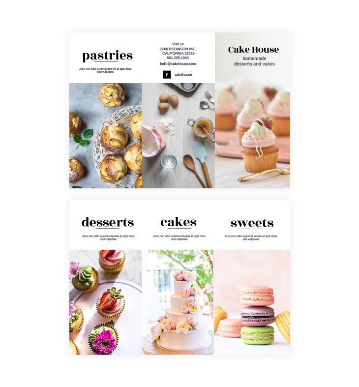 dessert trifold brochure template