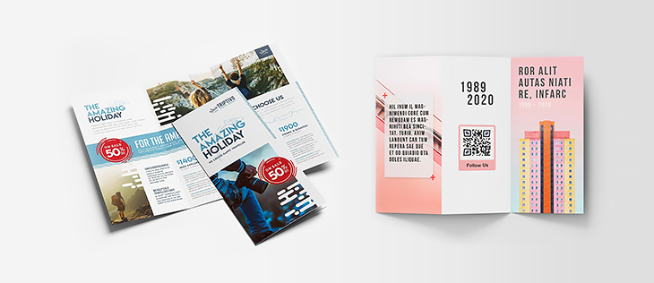 Discount and QR code examples on trifold brochures