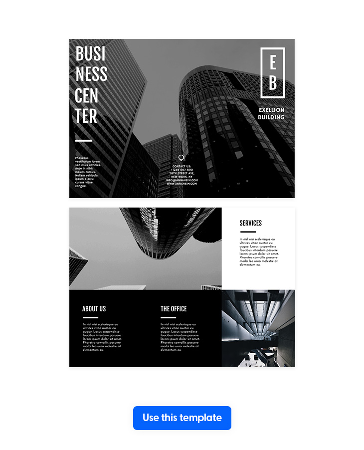 Black & White Trifold Business Brochure Template