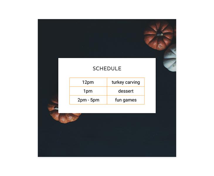 event program timetable