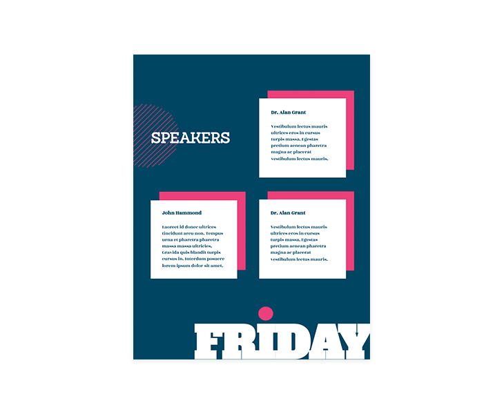 sample event brochure with speakers section