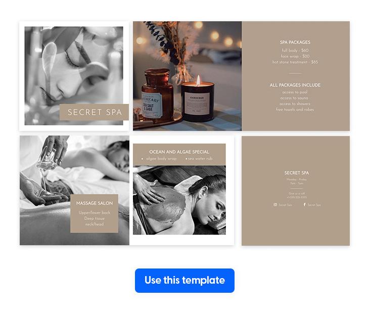 spa brochure template in square size