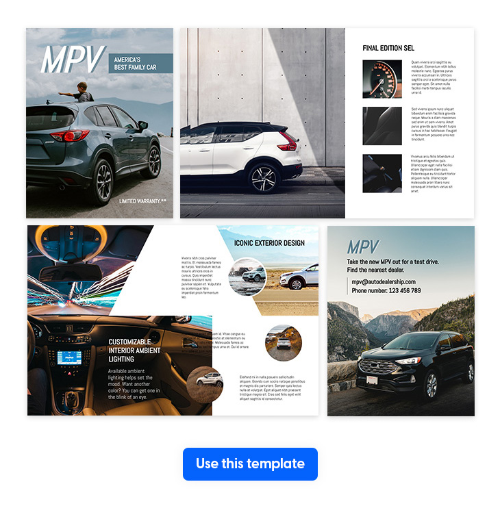 car brochure template in letter size