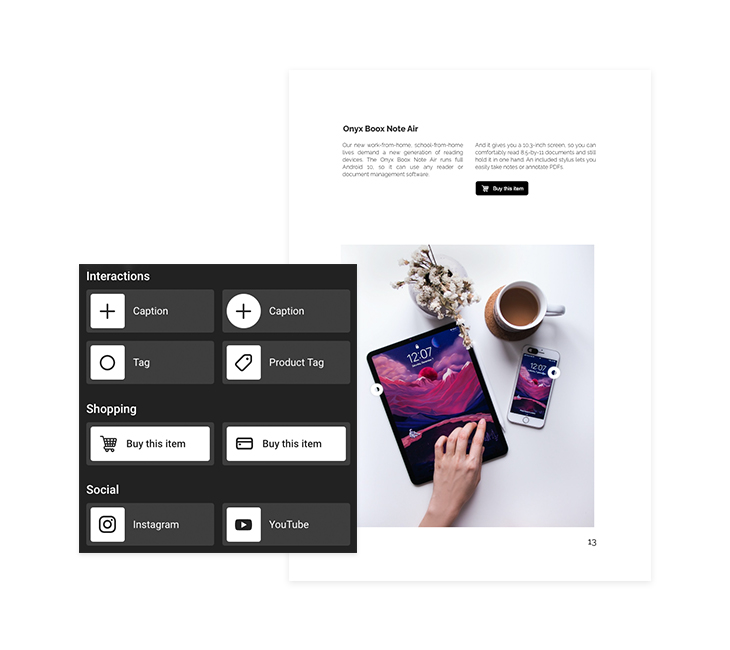 interactive elements in an online product catalog