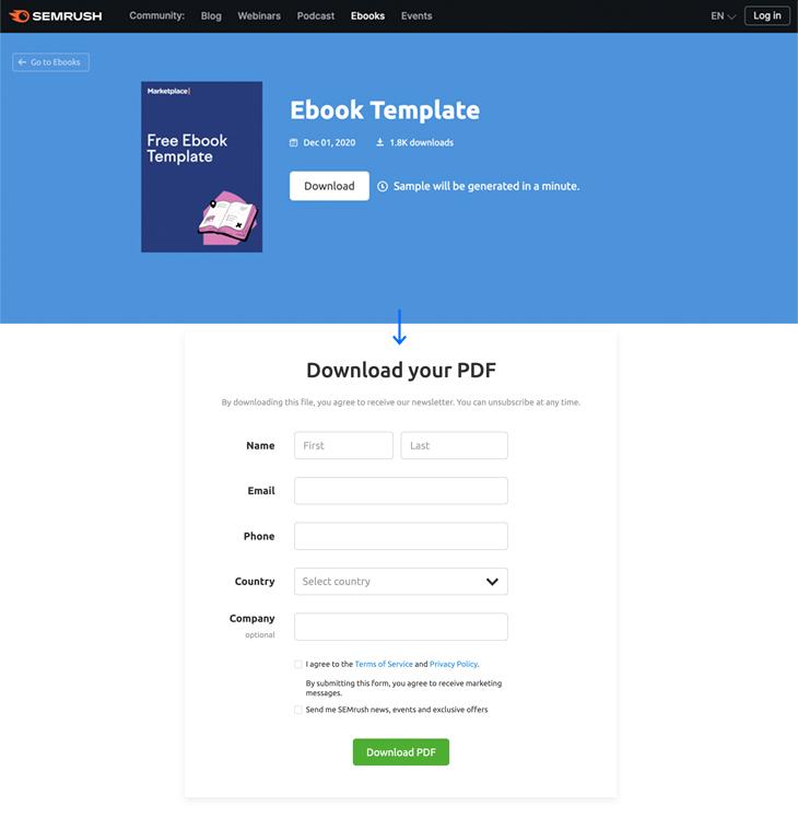 marketing ebook template example from Semrush