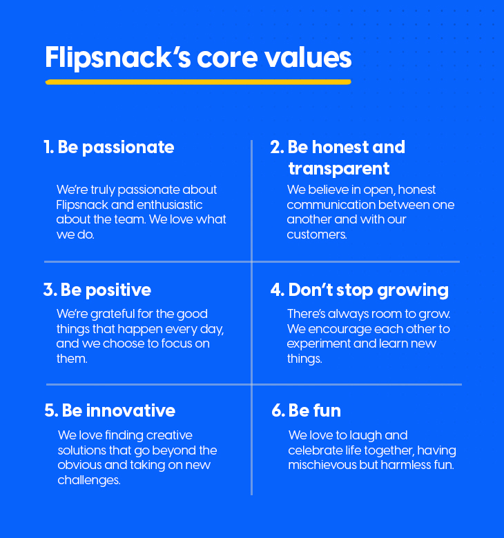 flipsnack's core-values