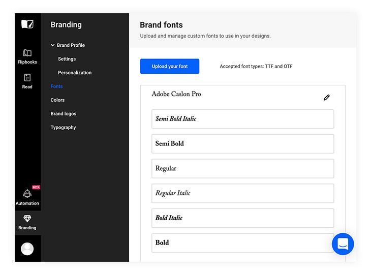 upload your custom fonts in Flipsnack