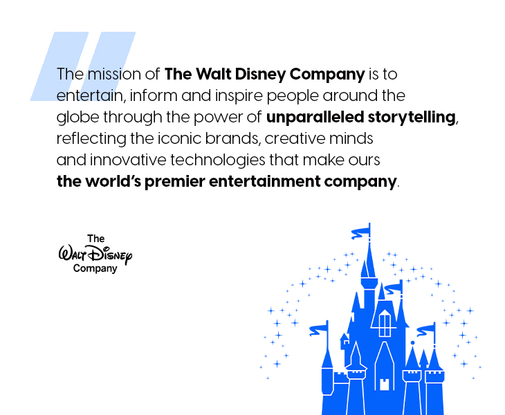 Walt Disney's mission statement that is to inspire people around the globe through the power of unparalleled storytelling.