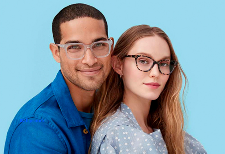 Two people wearing glasses from warby and parker eyewear