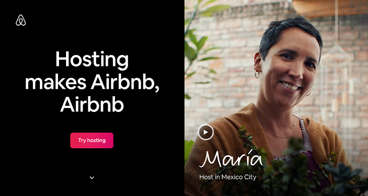 """Airbnb's main website that says """"hosting makes airbnb, airbnb"""""""