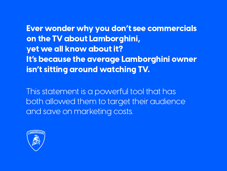 text explaining why Lamborghini doesn't make TV commercials in an article about building a brand story