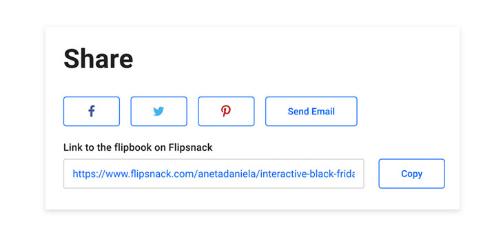 Sharing options in Flipsnack
