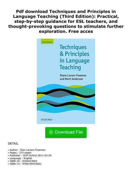 techniques and principles in language teaching 3rd edition free download