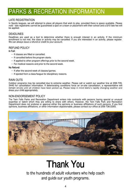 Parks And Recreation Twin Falls Id Official Website