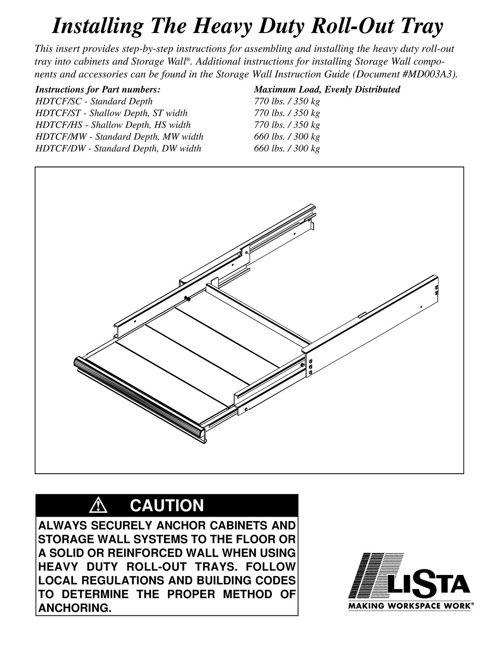 Storage Wall® Heavy Duty Roll Out Tray   LISTA