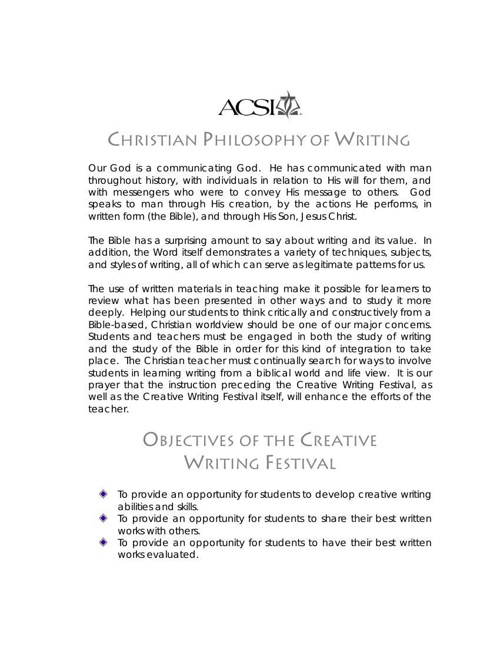 acsi creative writing festival 2014