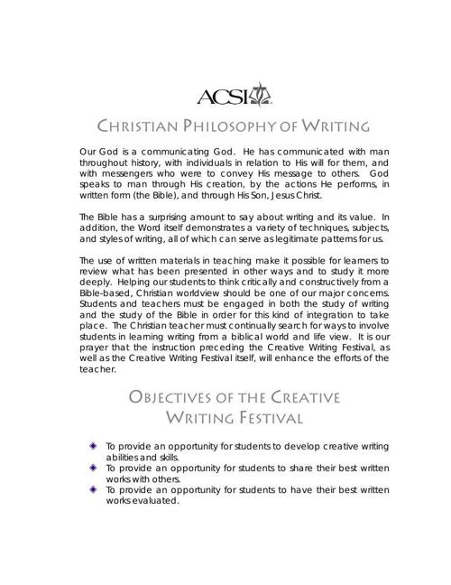 acsi creative writing festival 2014